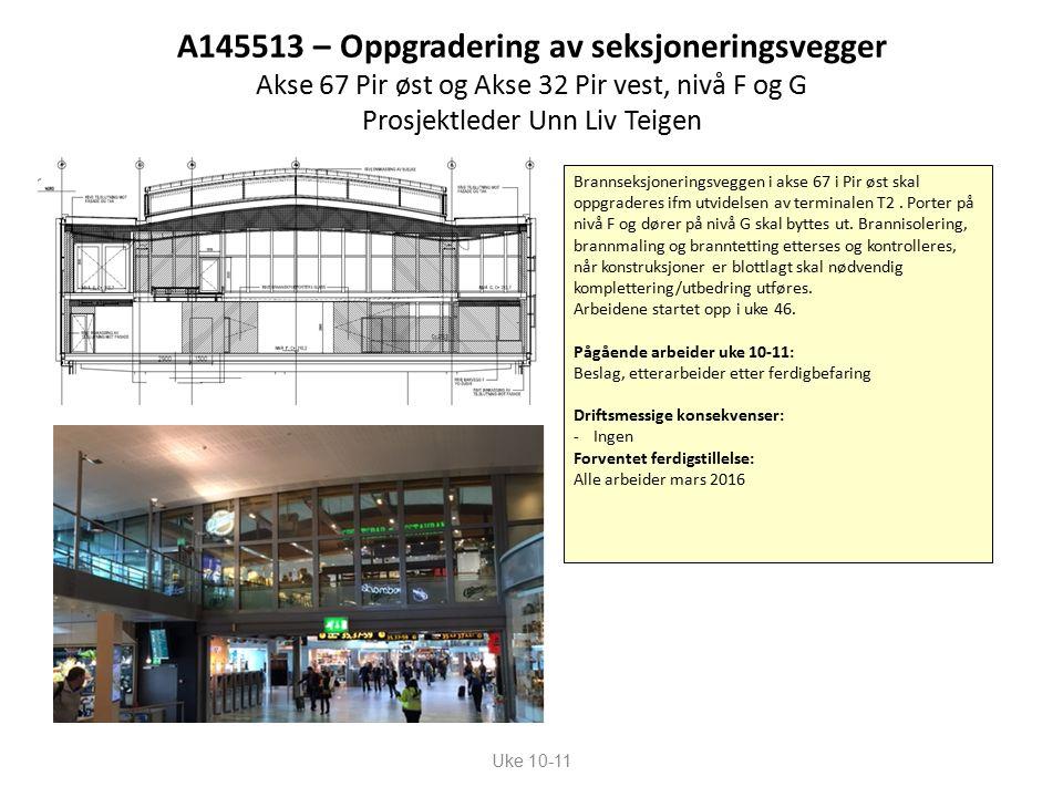 A145513 – Oppgradering av seksjoneringsvegger Akse 67 Pir øst og Akse 32 Pir vest, nivå F og G Prosjektleder Unn Liv Teigen Uke 10-11 Brannseksjoneringsveggen i akse 67 i Pir øst skal oppgraderes ifm utvidelsen av terminalen T2.