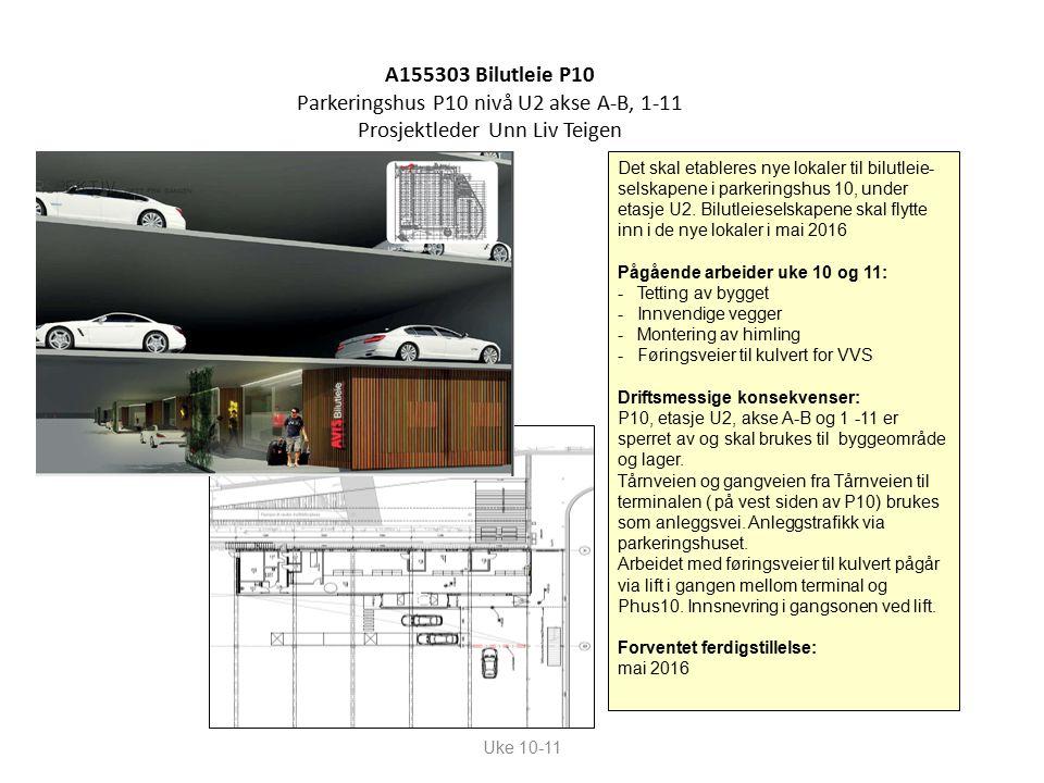 A155303 Bilutleie P10 Parkeringshus P10 nivå U2 akse A-B, 1-11 Prosjektleder Unn Liv Teigen Uke 10-11 Det skal etableres nye lokaler til bilutleie- selskapene i parkeringshus 10, under etasje U2.