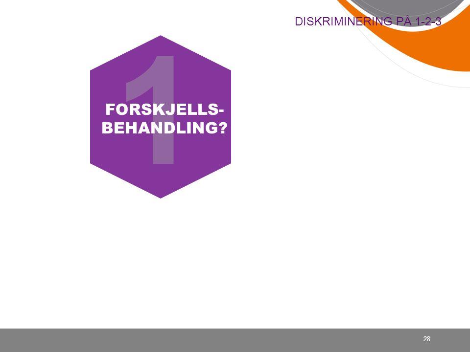 28 DISKRIMINERING PÅ 1-2-3 1 FORSKJELLS- BEHANDLING?
