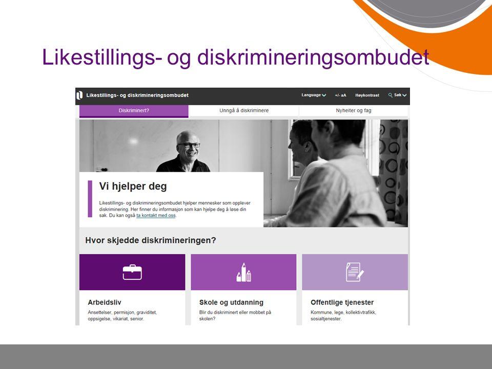 Ombudet gir veiledning, råd og informasjon om rettigheter og plikter i diskrimineringslovverket.
