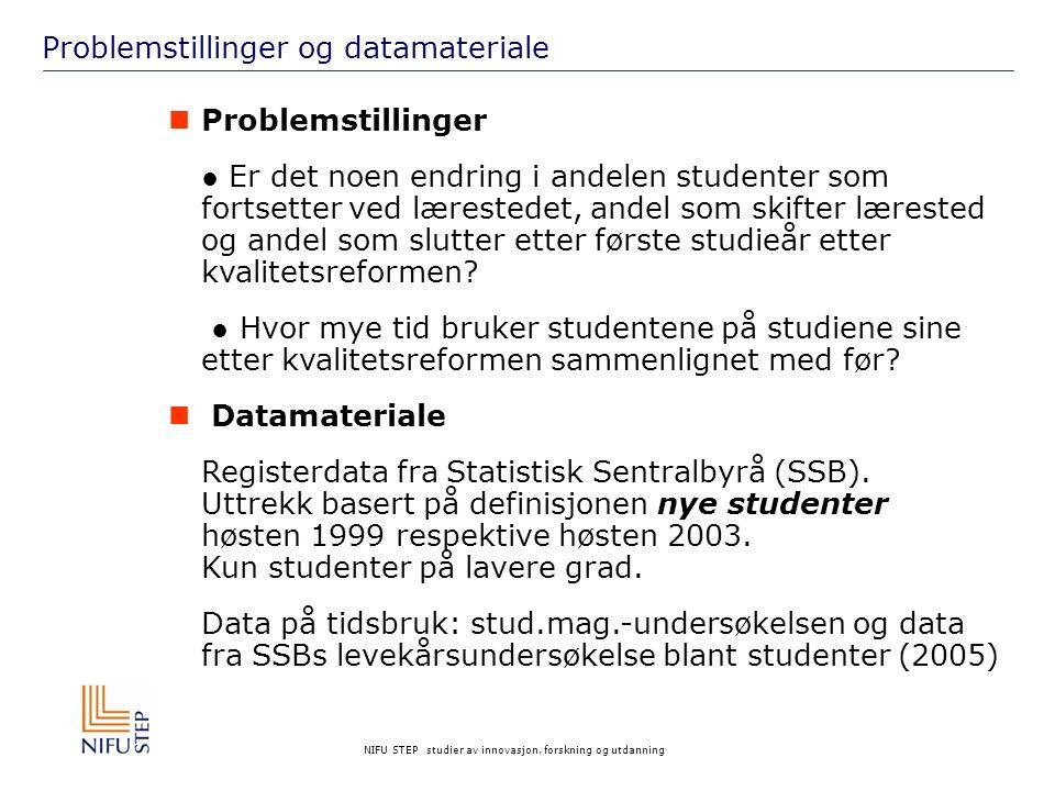 NIFU STEP studier av innovasjon, forskning og utdanning Lærestedene i datamaterialet www.nifustep.no 19992003 AntallProsentAntallProsent Universiteter836630,1836926,8 Statlige høgskoler1420151,11569050,2 Vitenskapelig høgskoler5422,06922,2 Private høgskoler361713,0539917,3 Utlandet10483,811313,6 N=10027774100,031281100,0
