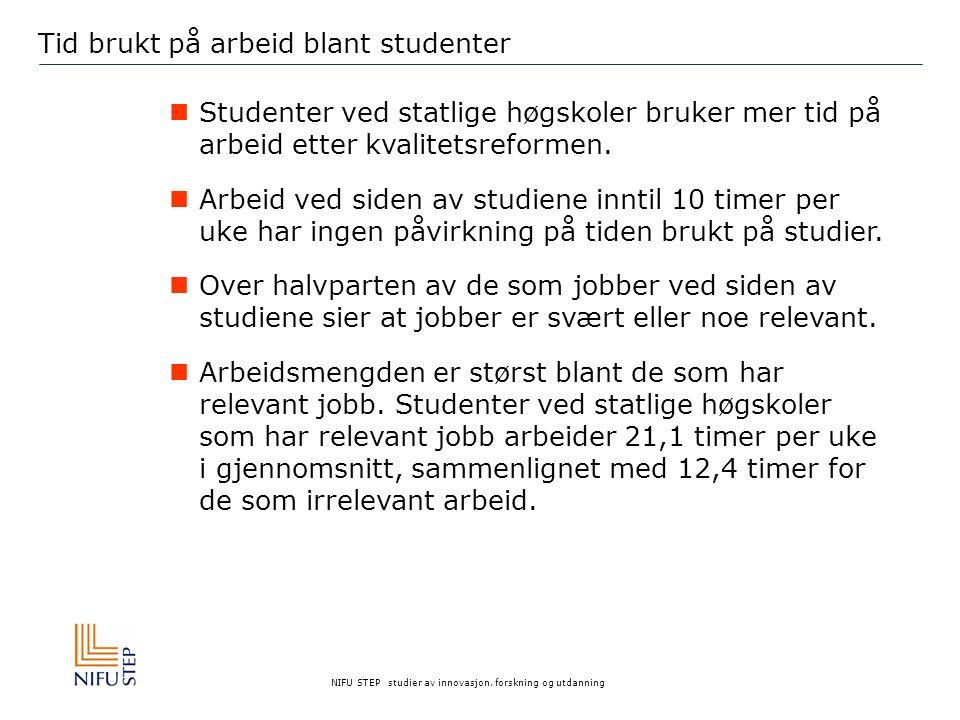 NIFU STEP studier av innovasjon, forskning og utdanning Tid brukt på arbeid blant studenter Studenter ved statlige høgskoler bruker mer tid på arbeid etter kvalitetsreformen.