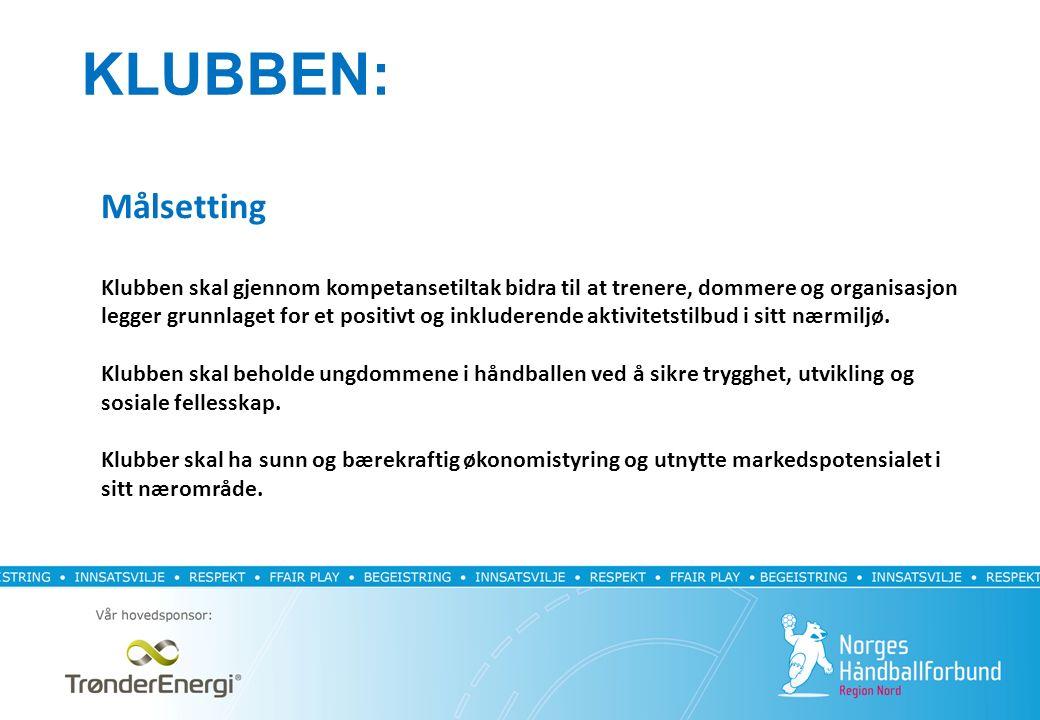 KLUBBEN: Målsetting Klubben skal gjennom kompetansetiltak bidra til at trenere, dommere og organisasjon legger grunnlaget for et positivt og inkluderende aktivitetstilbud i sitt nærmiljø.