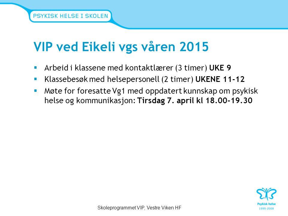 VIP ved Eikeli vgs våren 2015  Arbeid i klassene med kontaktlærer (3 timer) UKE 9  Klassebesøk med helsepersonell (2 timer) UKENE 11-12  Møte for foresatte Vg1 med oppdatert kunnskap om psykisk helse og kommunikasjon: Tirsdag 7.