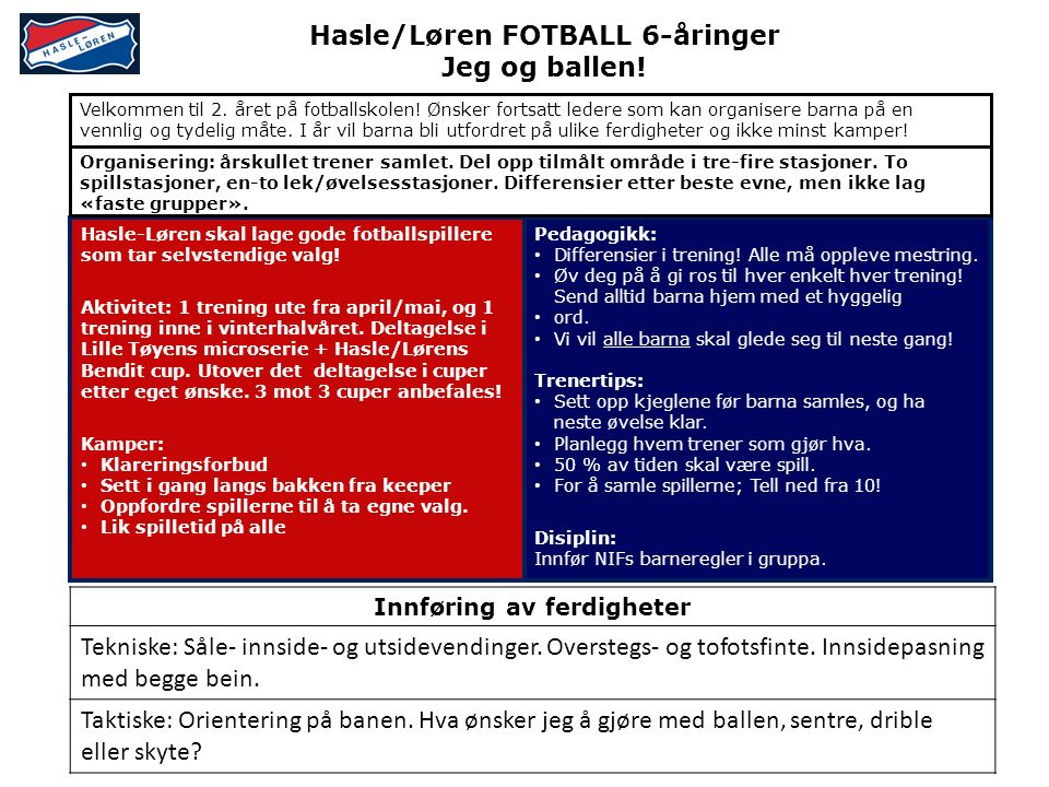 Hasle/Løren FOTBALL 6-åringer Jeg og ballen.