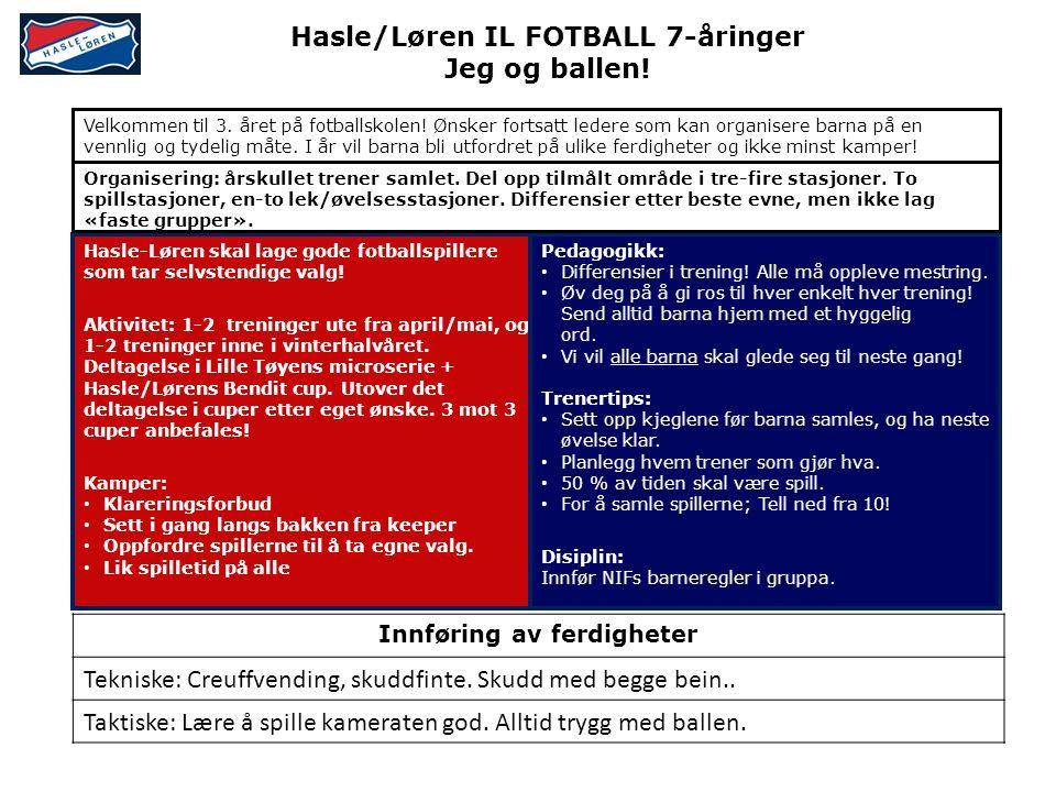 Hasle/Løren IL FOTBALL 7-åringer Jeg og ballen.