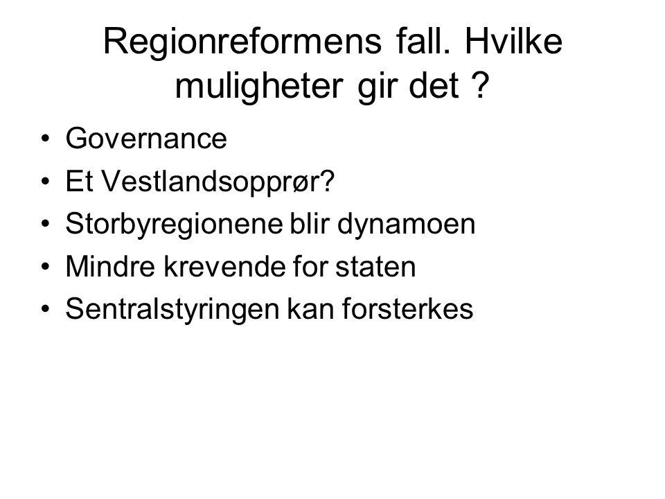 Regionreformens fall. Hvilke muligheter gir det .