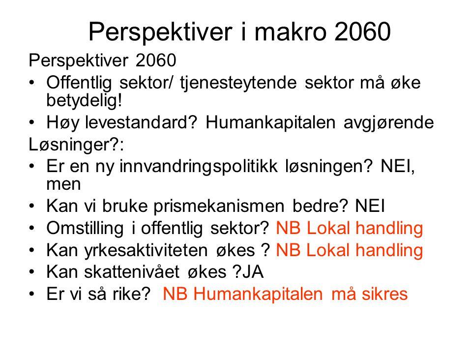 Perspektiver i makro 2060 Perspektiver 2060 Offentlig sektor/ tjenesteytende sektor må øke betydelig.
