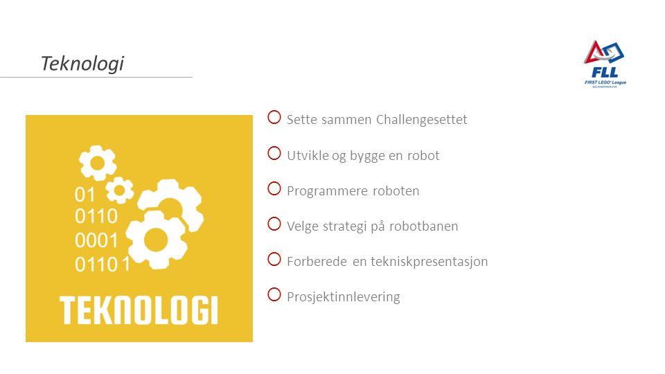 Teknologi  Sette sammen Challengesettet  Utvikle og bygge en robot  Programmere roboten  Velge strategi på robotbanen  Forberede en tekniskpresentasjon  Prosjektinnlevering