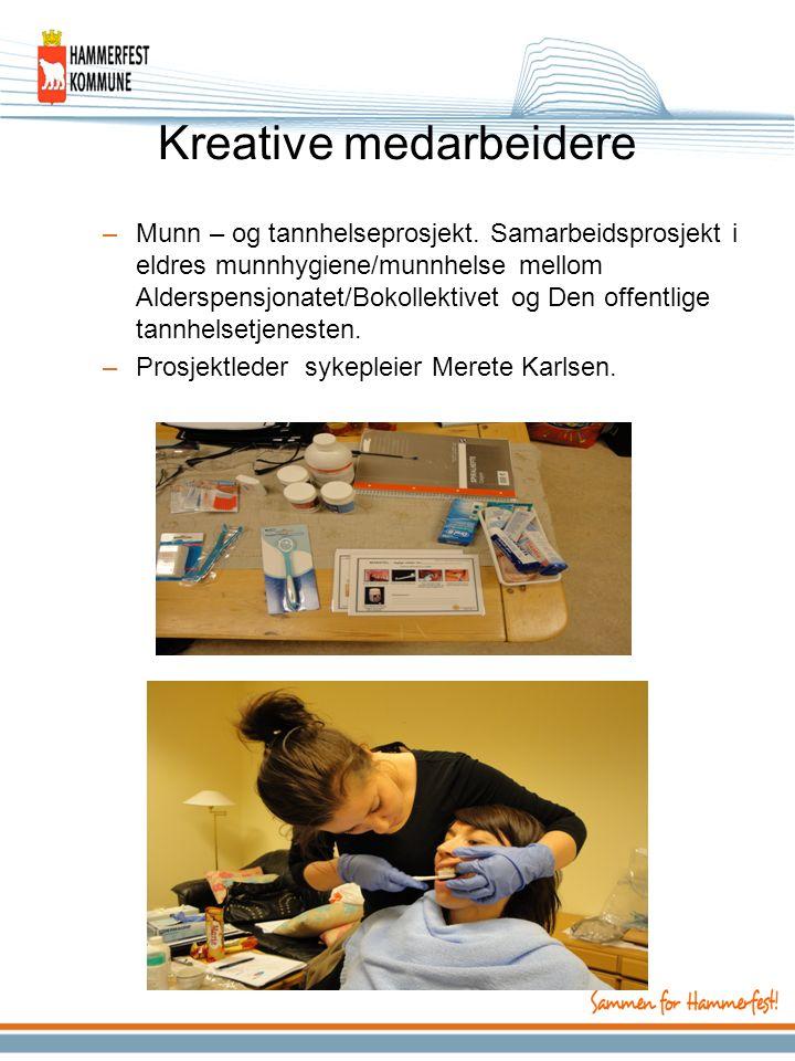 Kreative medarbeidere –Munn – og tannhelseprosjekt. Samarbeidsprosjekt i eldres munnhygiene/munnhelse mellom Alderspensjonatet/Bokollektivet og Den of