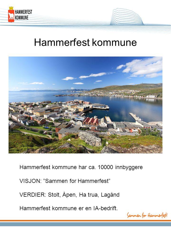 """Hammerfest kommune Hammerfest kommune har ca. 10000 innbyggere VISJON: """"Sammen for Hammerfest"""" VERDIER: Stolt, Åpen, Ha trua, Lagånd Hammerfest kommun"""