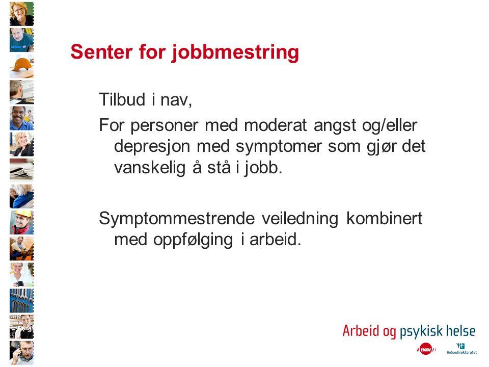 Senter for jobbmestring Tilbud i nav, For personer med moderat angst og/eller depresjon med symptomer som gjør det vanskelig å stå i jobb.
