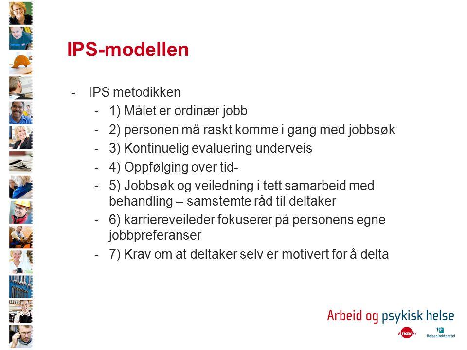 IPS-modellen -IPS metodikken -1) Målet er ordinær jobb -2) personen må raskt komme i gang med jobbsøk -3) Kontinuelig evaluering underveis -4) Oppfølging over tid- -5) Jobbsøk og veiledning i tett samarbeid med behandling – samstemte råd til deltaker -6) karriereveileder fokuserer på personens egne jobbpreferanser -7) Krav om at deltaker selv er motivert for å delta