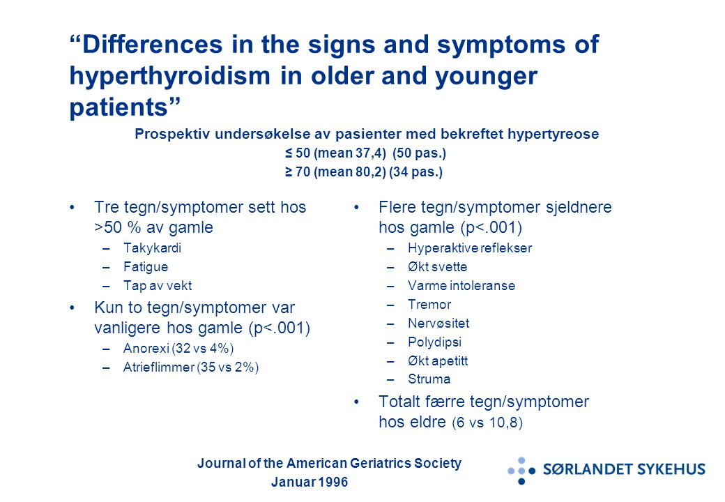"""Differences in the signs and symptoms of hyperthyroidism in older and younger patients"" Prospektiv undersøkelse av pasienter med bekreftet hypertyreo"