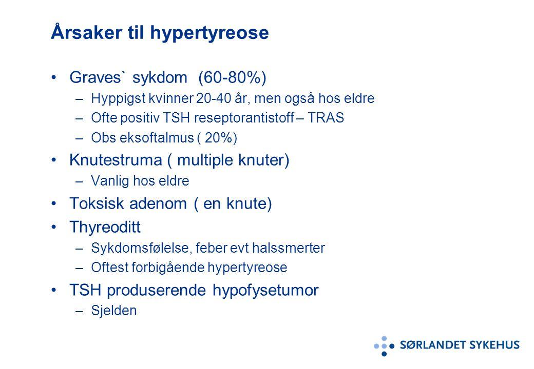 Årsaker til hypertyreose Graves` sykdom (60-80%) –Hyppigst kvinner 20-40 år, men også hos eldre –Ofte positiv TSH reseptorantistoff – TRAS –Obs eksoftalmus ( 20%) Knutestruma ( multiple knuter) –Vanlig hos eldre Toksisk adenom ( en knute) Thyreoditt –Sykdomsfølelse, feber evt halssmerter –Oftest forbigående hypertyreose TSH produserende hypofysetumor –Sjelden