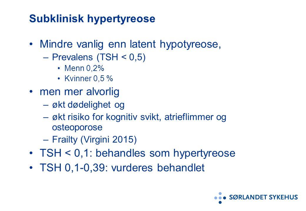 Subklinisk hypertyreose Mindre vanlig enn latent hypotyreose, –Prevalens (TSH < 0,5) Menn 0,2% Kvinner 0,5 % men mer alvorlig –økt dødelighet og –økt risiko for kognitiv svikt, atrieflimmer og osteoporose –Frailty (Virgini 2015) TSH < 0,1: behandles som hypertyreose TSH 0,1-0,39: vurderes behandlet