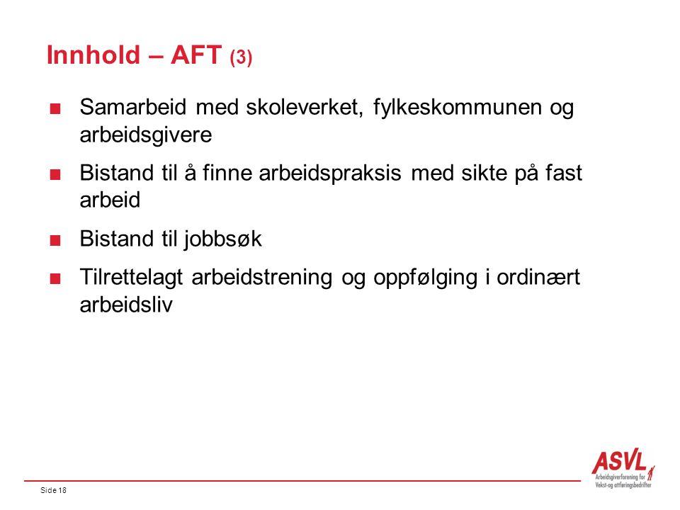 Side 18 Innhold – AFT (3)  Samarbeid med skoleverket, fylkeskommunen og arbeidsgivere  Bistand til å finne arbeidspraksis med sikte på fast arbeid 
