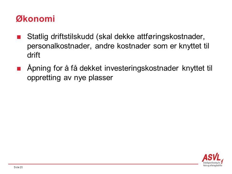Side 20 Økonomi  Statlig driftstilskudd (skal dekke attføringskostnader, personalkostnader, andre kostnader som er knyttet til drift  Åpning for å få dekket investeringskostnader knyttet til oppretting av nye plasser