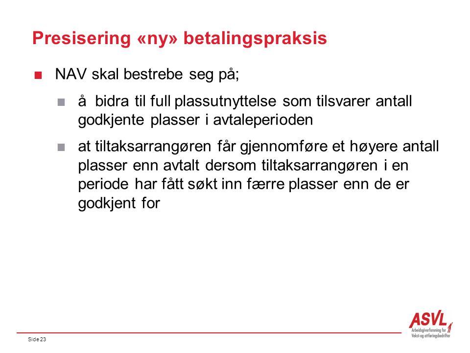 Side 23 Presisering «ny» betalingspraksis  NAV skal bestrebe seg på;  å bidra til full plassutnyttelse som tilsvarer antall godkjente plasser i avta