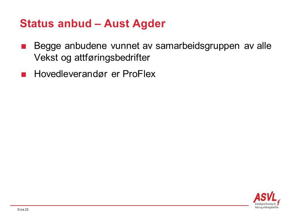 Side 25 Status anbud – Aust Agder  Begge anbudene vunnet av samarbeidsgruppen av alle Vekst og attføringsbedrifter  Hovedleverandør er ProFlex