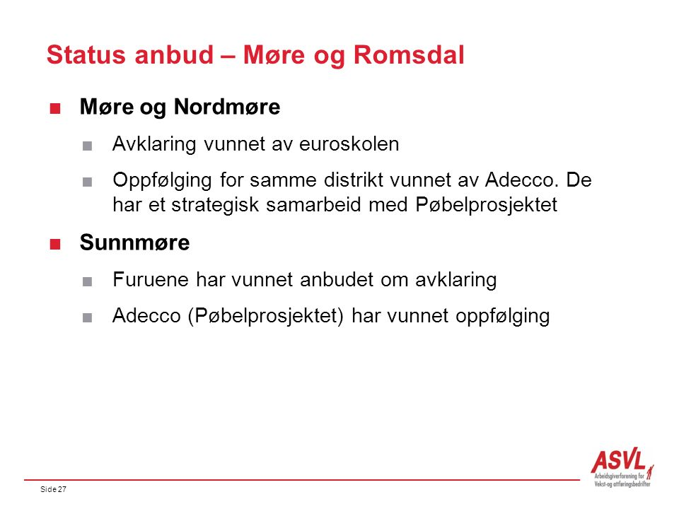 Side 27 Status anbud – Møre og Romsdal  Møre og Nordmøre  Avklaring vunnet av euroskolen  Oppfølging for samme distrikt vunnet av Adecco. De har et
