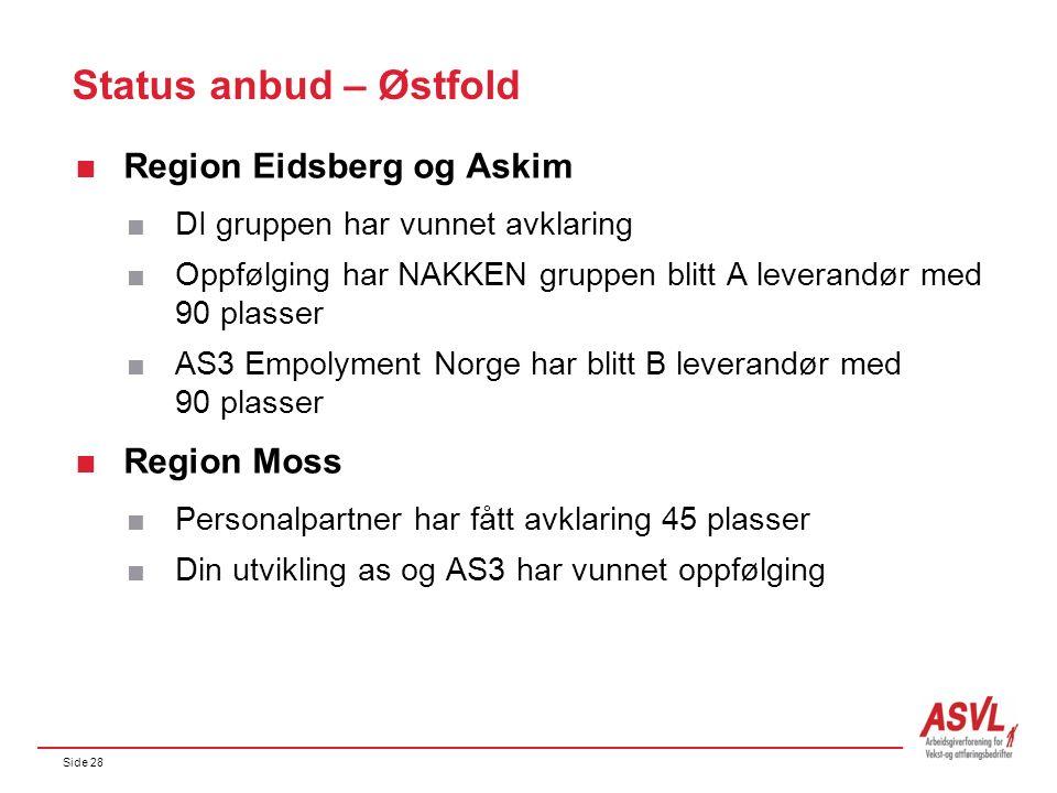 Side 28 Status anbud – Østfold  Region Eidsberg og Askim  DI gruppen har vunnet avklaring  Oppfølging har NAKKEN gruppen blitt A leverandør med 90