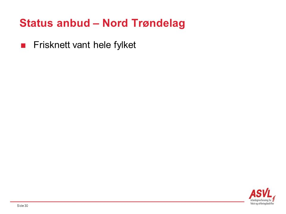 Side 30 Status anbud – Nord Trøndelag  Frisknett vant hele fylket