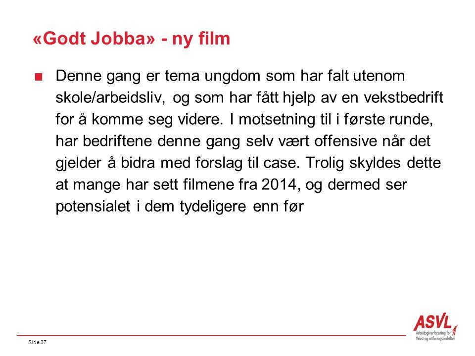 Side 37 «Godt Jobba» - ny film  Denne gang er tema ungdom som har falt utenom skole/arbeidsliv, og som har fått hjelp av en vekstbedrift for å komme