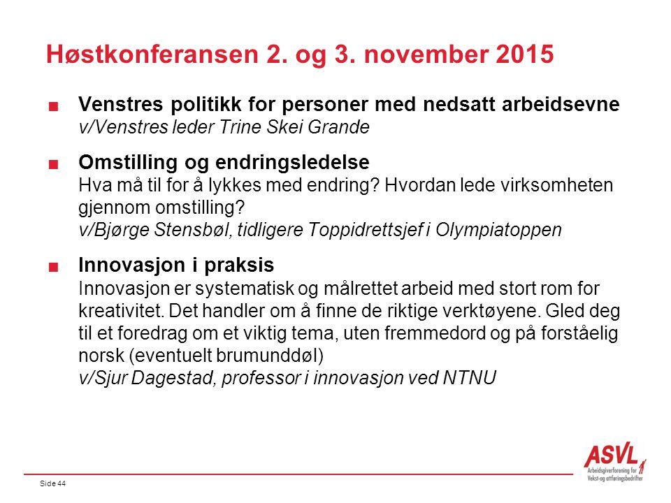 Side 44 Høstkonferansen 2. og 3. november 2015  Venstres politikk for personer med nedsatt arbeidsevne v/Venstres leder Trine Skei Grande  Omstillin
