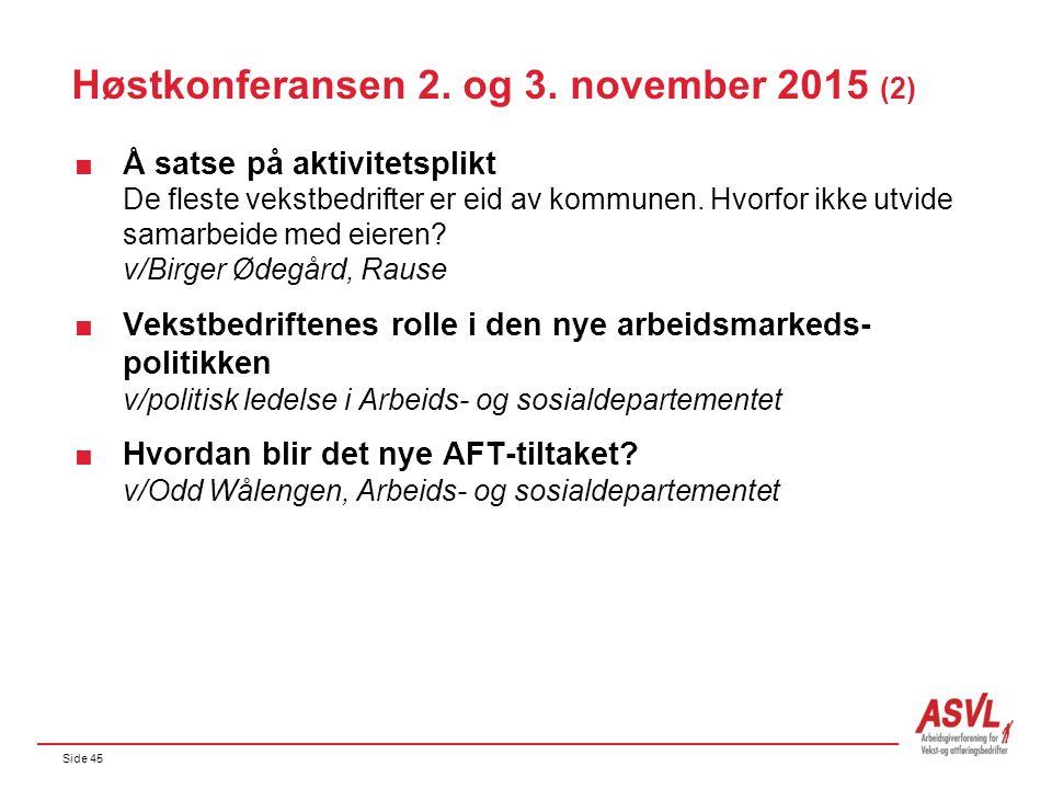 Side 45 Høstkonferansen 2. og 3. november 2015 (2)  Å satse på aktivitetsplikt De fleste vekstbedrifter er eid av kommunen. Hvorfor ikke utvide samar