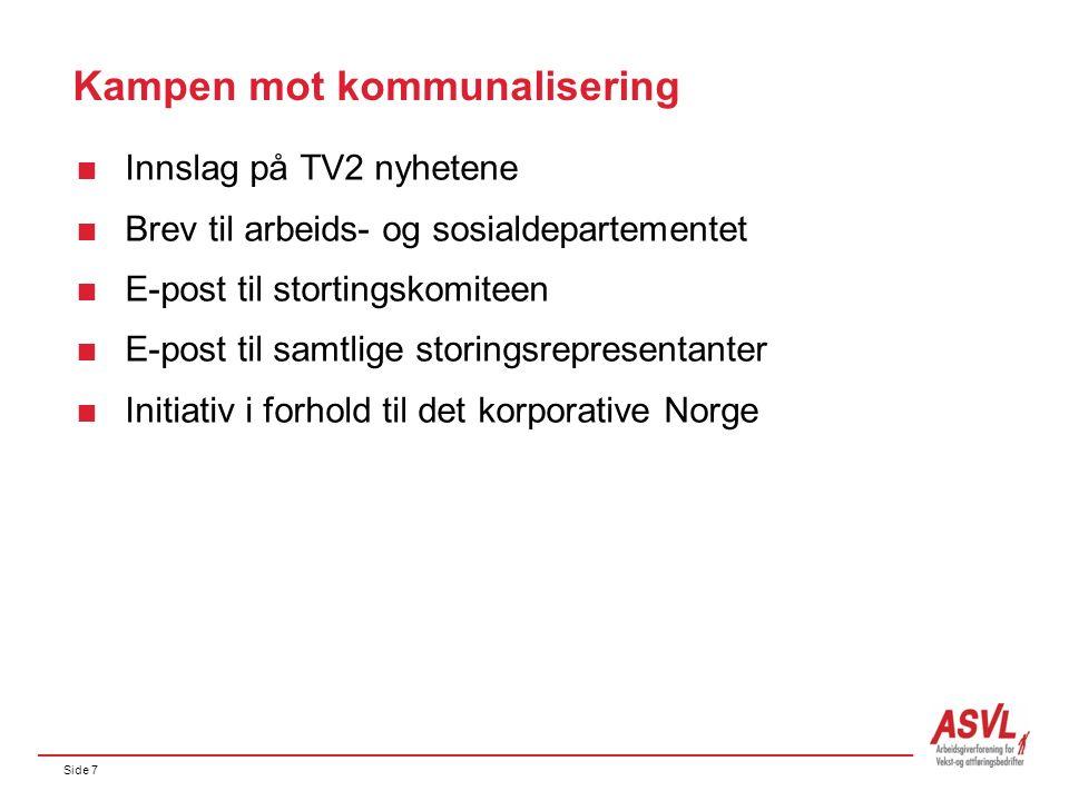 Side 7 Kampen mot kommunalisering  Innslag på TV2 nyhetene  Brev til arbeids- og sosialdepartementet  E-post til stortingskomiteen  E-post til samtlige storingsrepresentanter  Initiativ i forhold til det korporative Norge