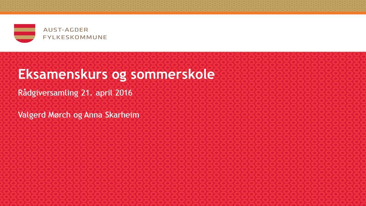 Eksamenskurs og sommerskole Rådgiversamling 21. april 2016 Valgerd Mørch og Anna Skarheim