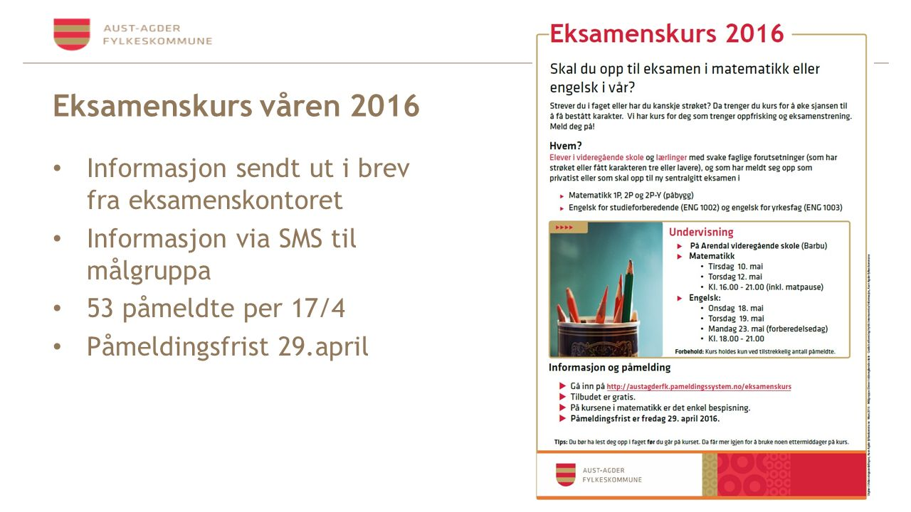 Eksamenskurs våren 2016 Informasjon sendt ut i brev fra eksamenskontoret Informasjon via SMS til målgruppa 53 påmeldte per 17/4 Påmeldingsfrist 29.april
