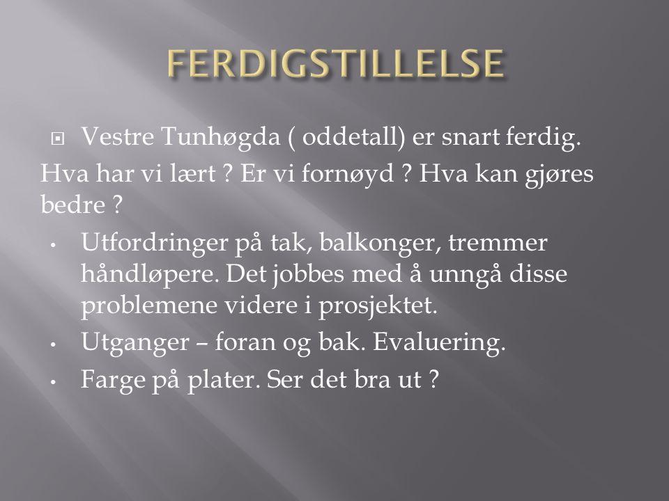  Vestre Tunhøgda ( oddetall) er snart ferdig. Hva har vi lært .