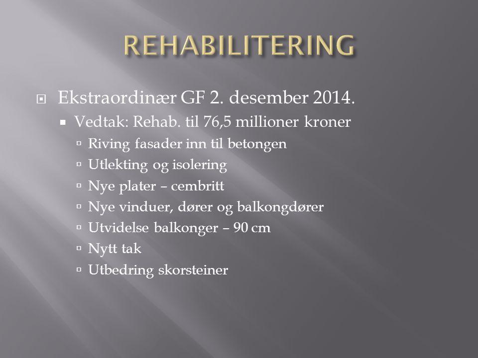  Ekstraordinær GF 2. desember 2014.  Vedtak: Rehab. til 76,5 millioner kroner  Riving fasader inn til betongen  Utlekting og isolering  Nye plate