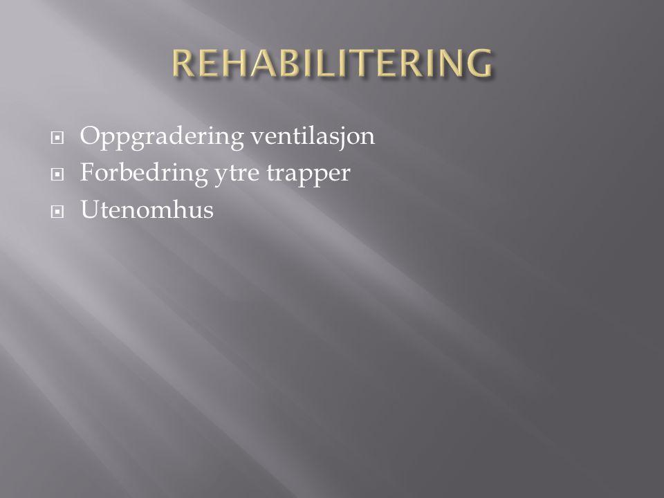  Oppgradering ventilasjon  Forbedring ytre trapper  Utenomhus