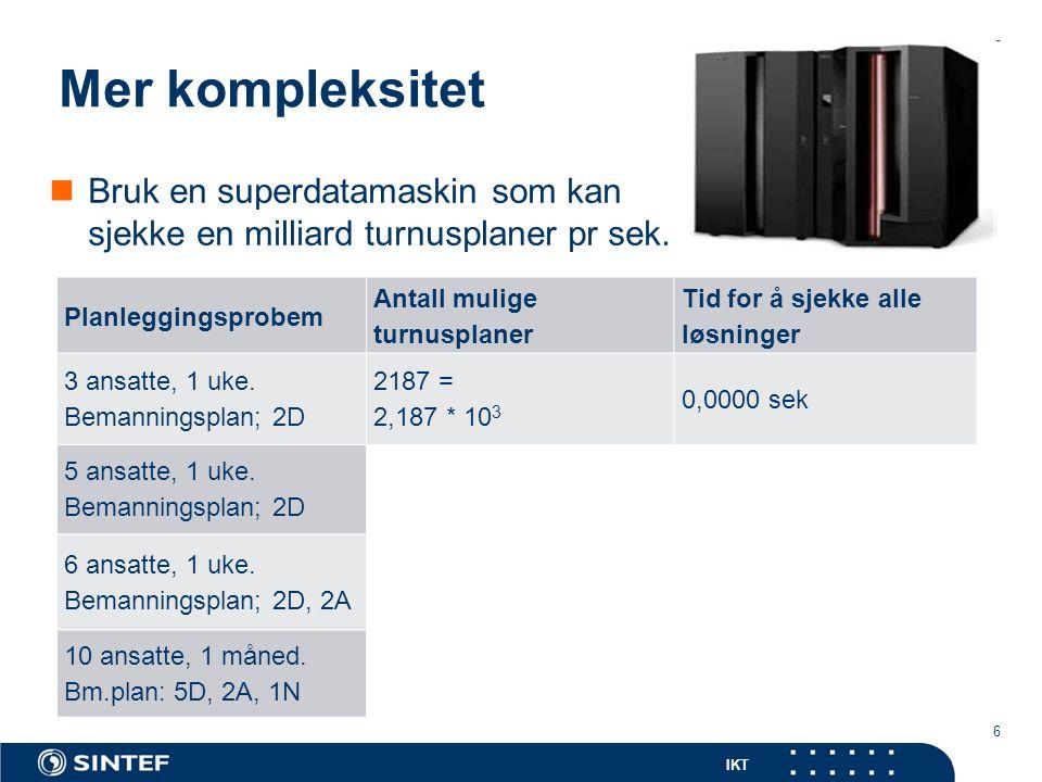 IKT Mer kompleksitet 6 Bruk en superdatamaskin som kan sjekke en milliard turnusplaner pr sek.