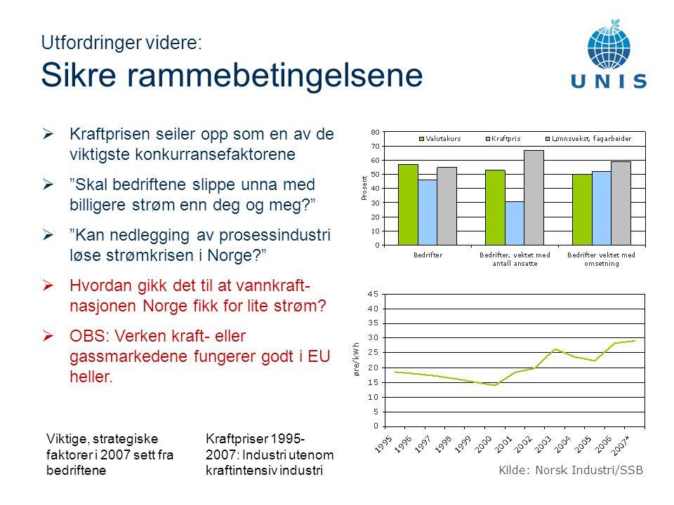 Utfordringer videre: Sikre rammebetingelsene Viktige, strategiske faktorer i 2007 sett fra bedriftene  Kraftprisen seiler opp som en av de viktigste konkurransefaktorene  Skal bedriftene slippe unna med billigere strøm enn deg og meg  Kan nedlegging av prosessindustri løse strømkrisen i Norge  Hvordan gikk det til at vannkraft- nasjonen Norge fikk for lite strøm.