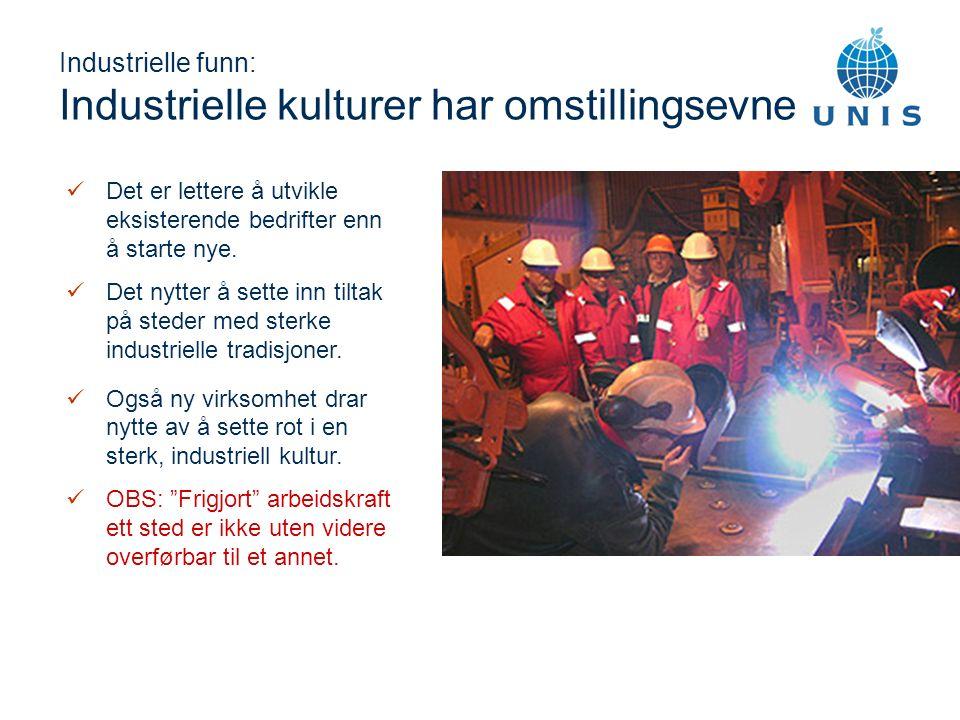 Industrielle funn: Industrielle kulturer har omstillingsevne Det er lettere å utvikle eksisterende bedrifter enn å starte nye.