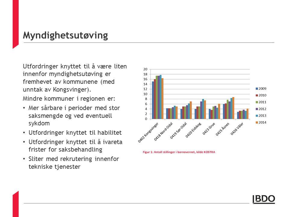 Myndighetsutøving Utfordringer knyttet til å være liten innenfor myndighetsutøving er fremhevet av kommunene (med unntak av Kongsvinger).