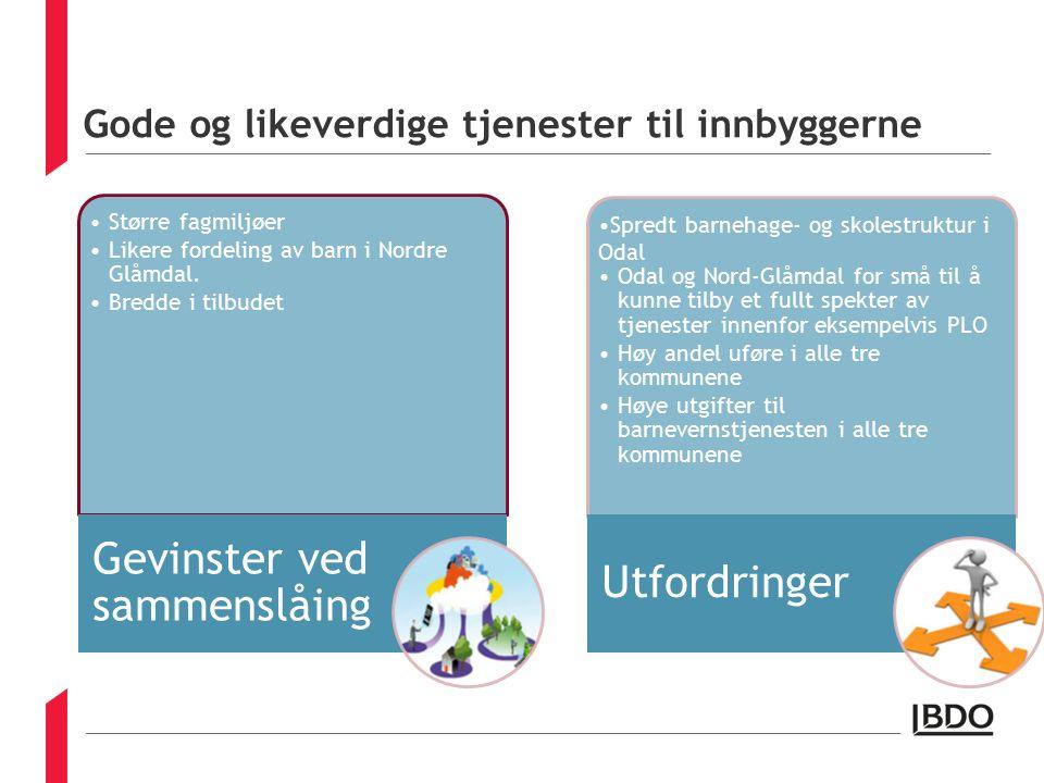 Gode og likeverdige tjenester til innbyggerne Større fagmiljøer Likere fordeling av barn i Nordre Glåmdal.