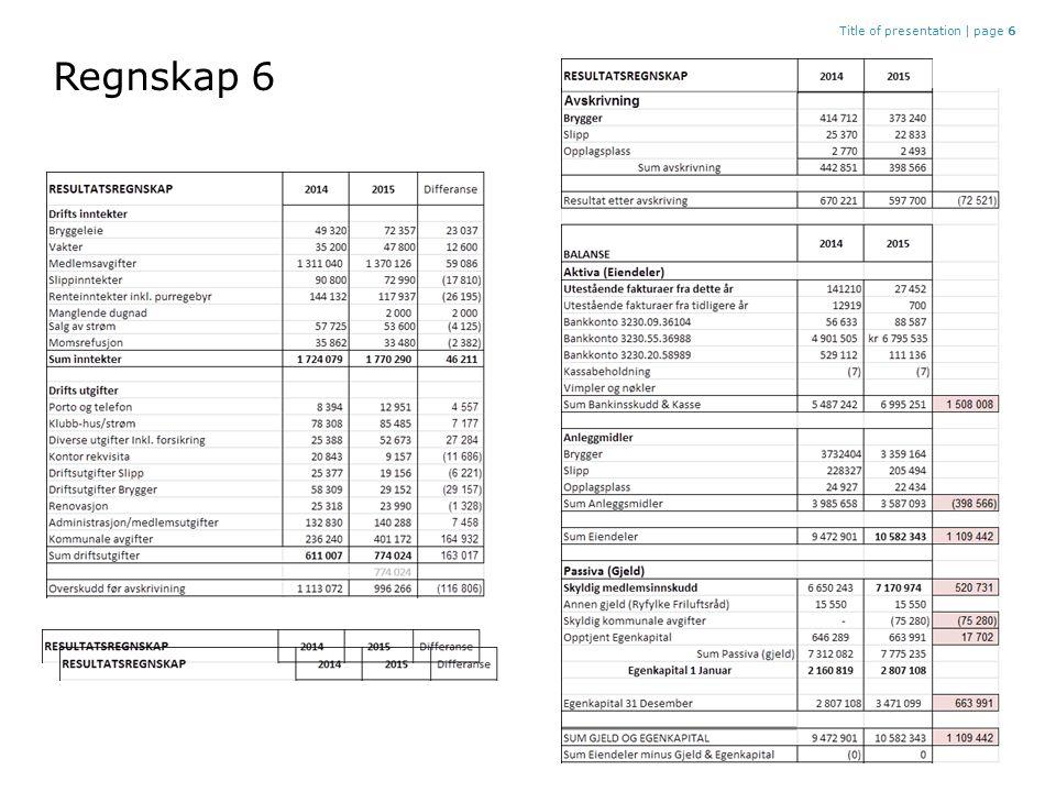 Regnskap 6 Title of presentation |page 6