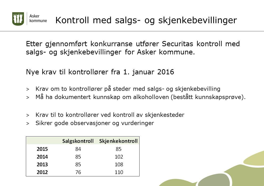 Kontroll med salgs- og skjenkebevillinger Etter gjennomført konkurranse utfører Securitas kontroll med salgs- og skjenkebevillinger for Asker kommune.