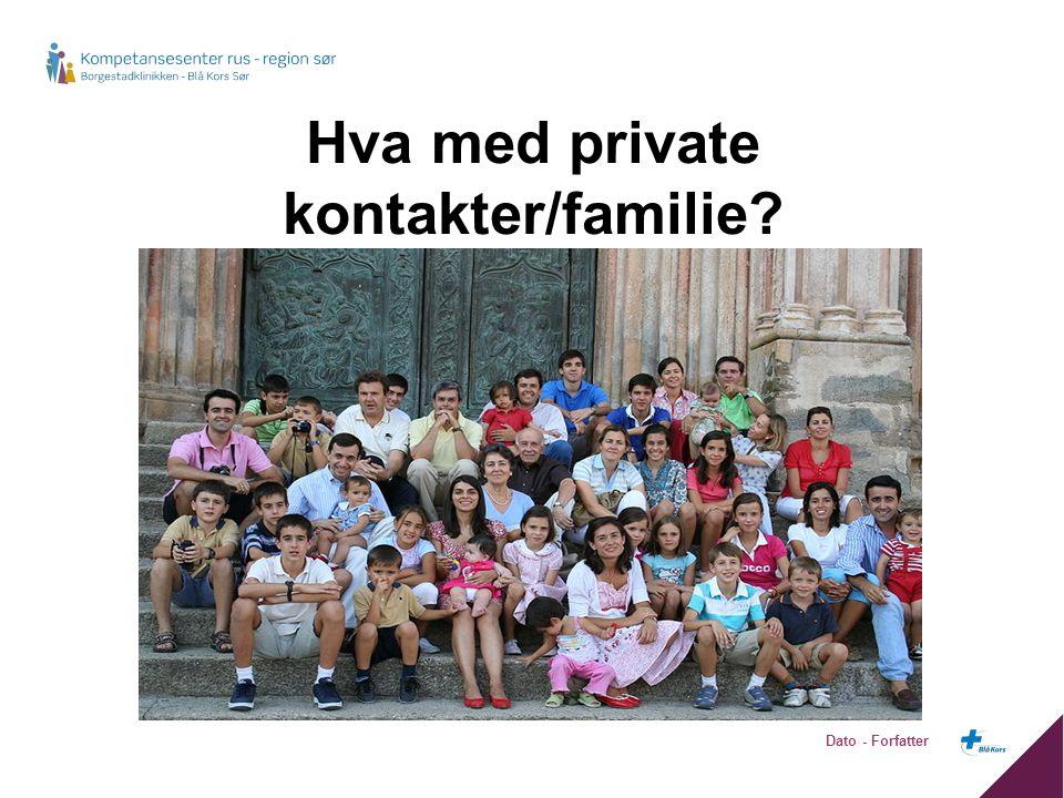 Hva med private kontakter/familie? Dato - Forfatter