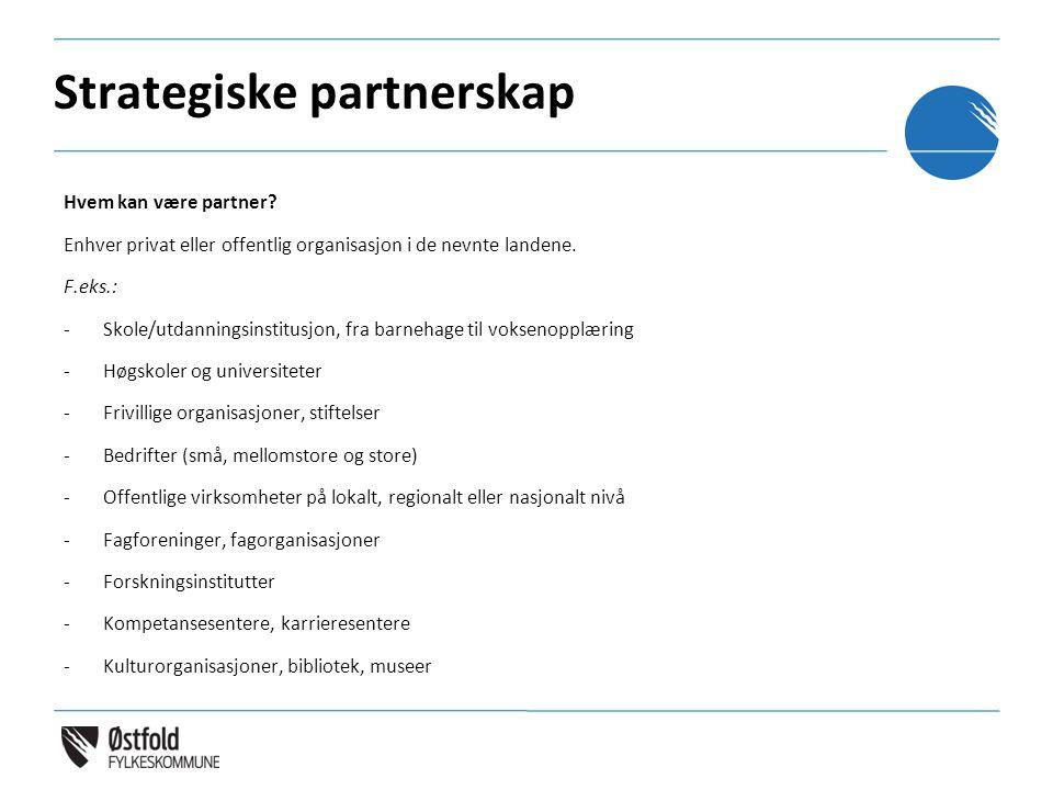 Strategiske partnerskap Hvem kan være partner? Enhver privat eller offentlig organisasjon i de nevnte landene. F.eks.: -Skole/utdanningsinstitusjon, f