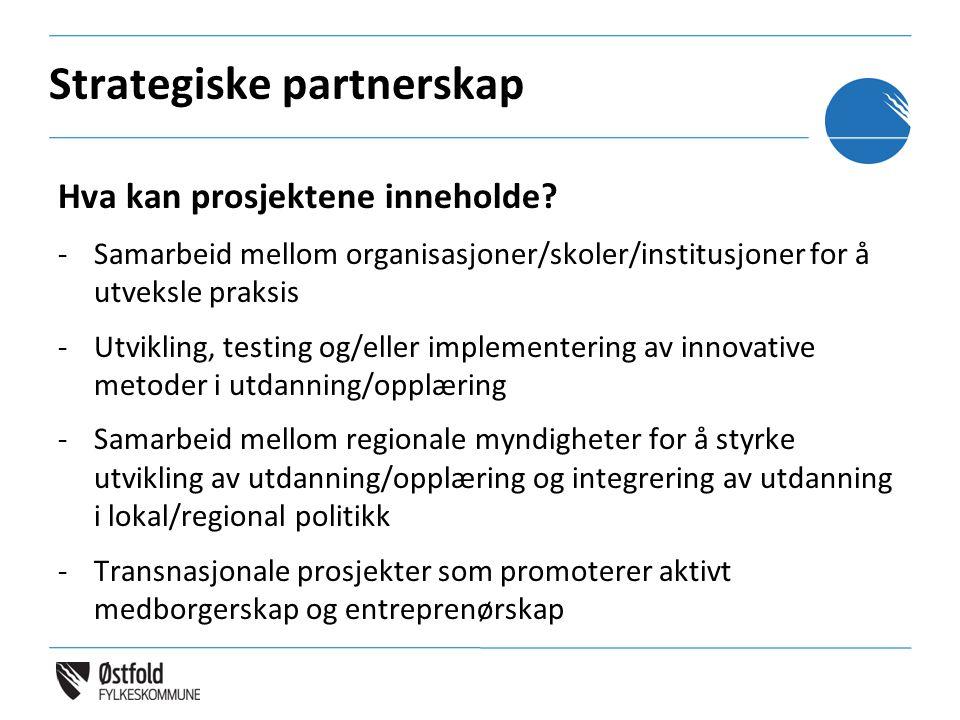 Strategiske partnerskap Hva kan prosjektene inneholde? -Samarbeid mellom organisasjoner/skoler/institusjoner for å utveksle praksis -Utvikling, testin