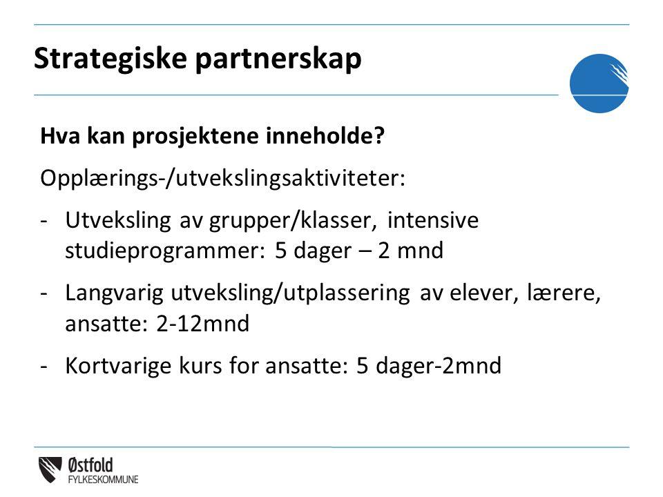 Strategiske partnerskap Hva kan prosjektene inneholde? Opplærings-/utvekslingsaktiviteter: -Utveksling av grupper/klasser, intensive studieprogrammer: