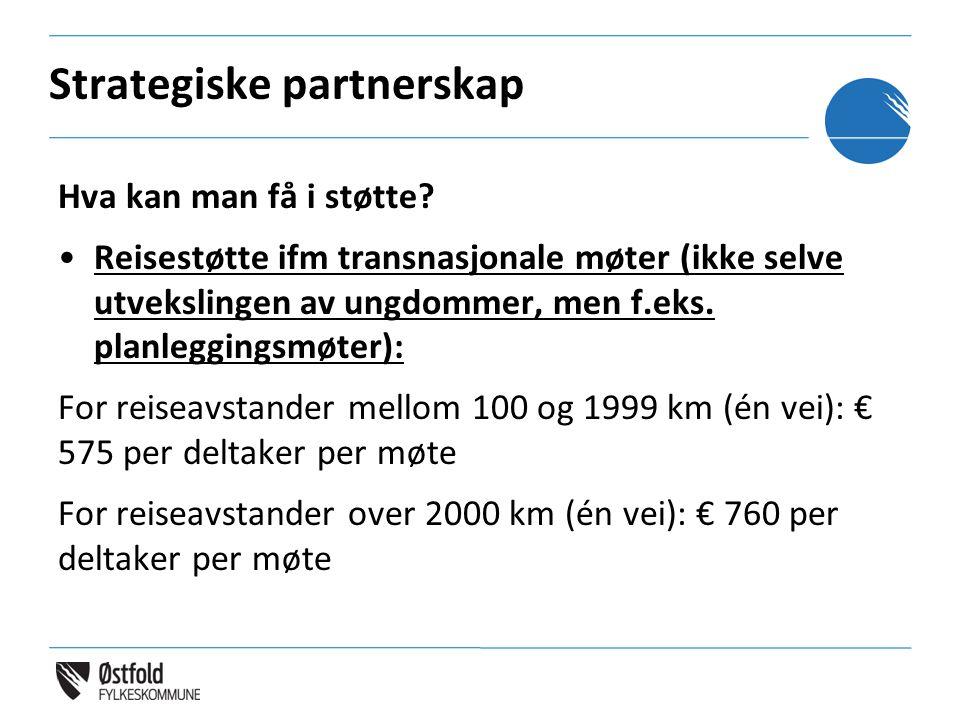 Strategiske partnerskap Hva kan man få i støtte? Reisestøtte ifm transnasjonale møter (ikke selve utvekslingen av ungdommer, men f.eks. planleggingsmø