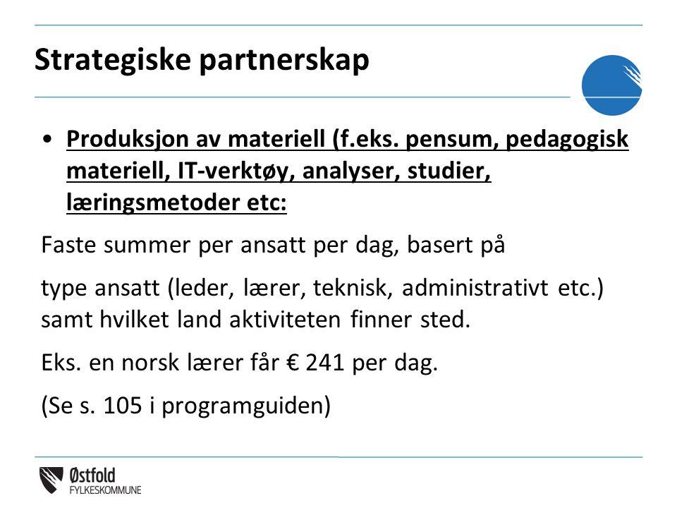 Strategiske partnerskap Produksjon av materiell (f.eks. pensum, pedagogisk materiell, IT-verktøy, analyser, studier, læringsmetoder etc: Faste summer