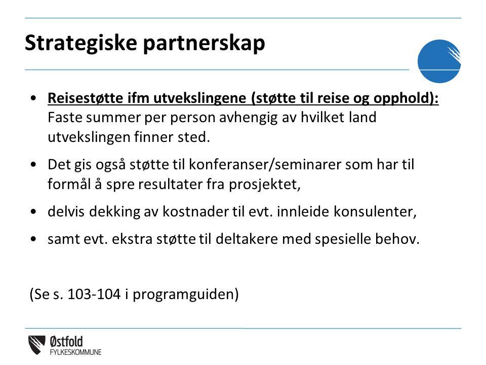 Strategiske partnerskap Reisestøtte ifm utvekslingene (støtte til reise og opphold): Faste summer per person avhengig av hvilket land utvekslingen fin